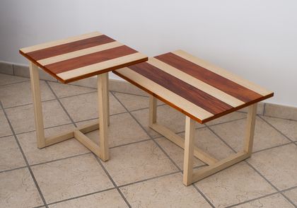 Couple of coffee Tables in Ash and Padouk wood