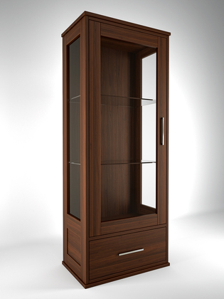Modern cabinet with one door, made in walnut wood