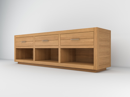 Glass topped Tv unit in Oak wood