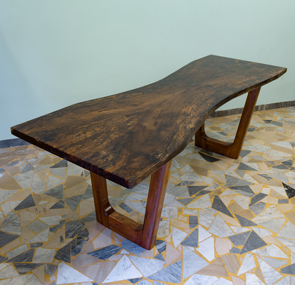 Resin table with briccola wood