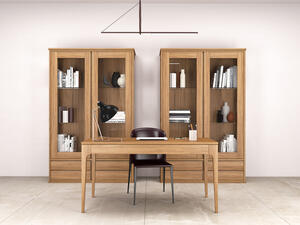 Minimal style solid Oak Wood Display Cabinet